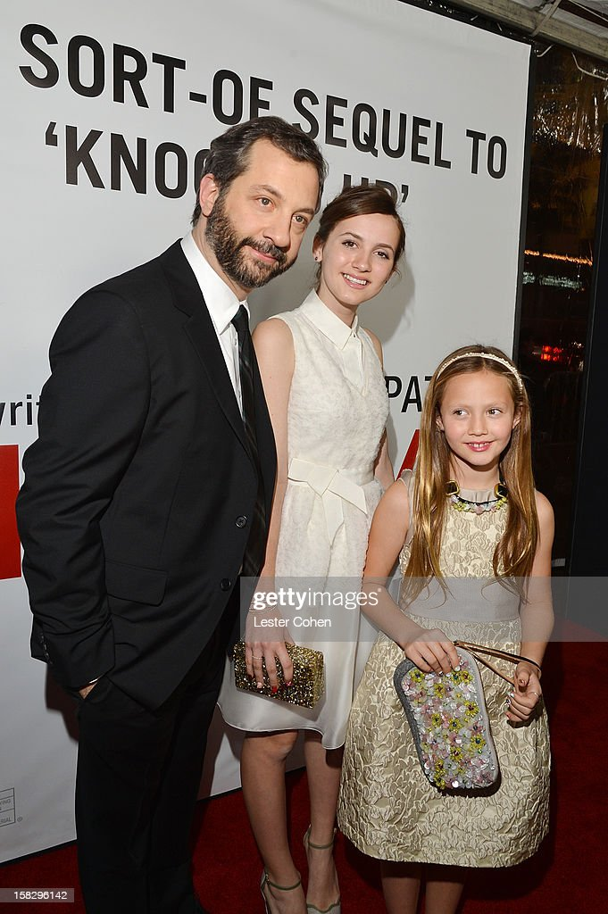 Writer/director/producer Judd Apatow, Maude Apatow and Iris Apatow attend 'This Is 40' - Los Angeles Premiere - Red Carpet at Grauman's Chinese Theatre on December 12, 2012 in Hollywood, California.