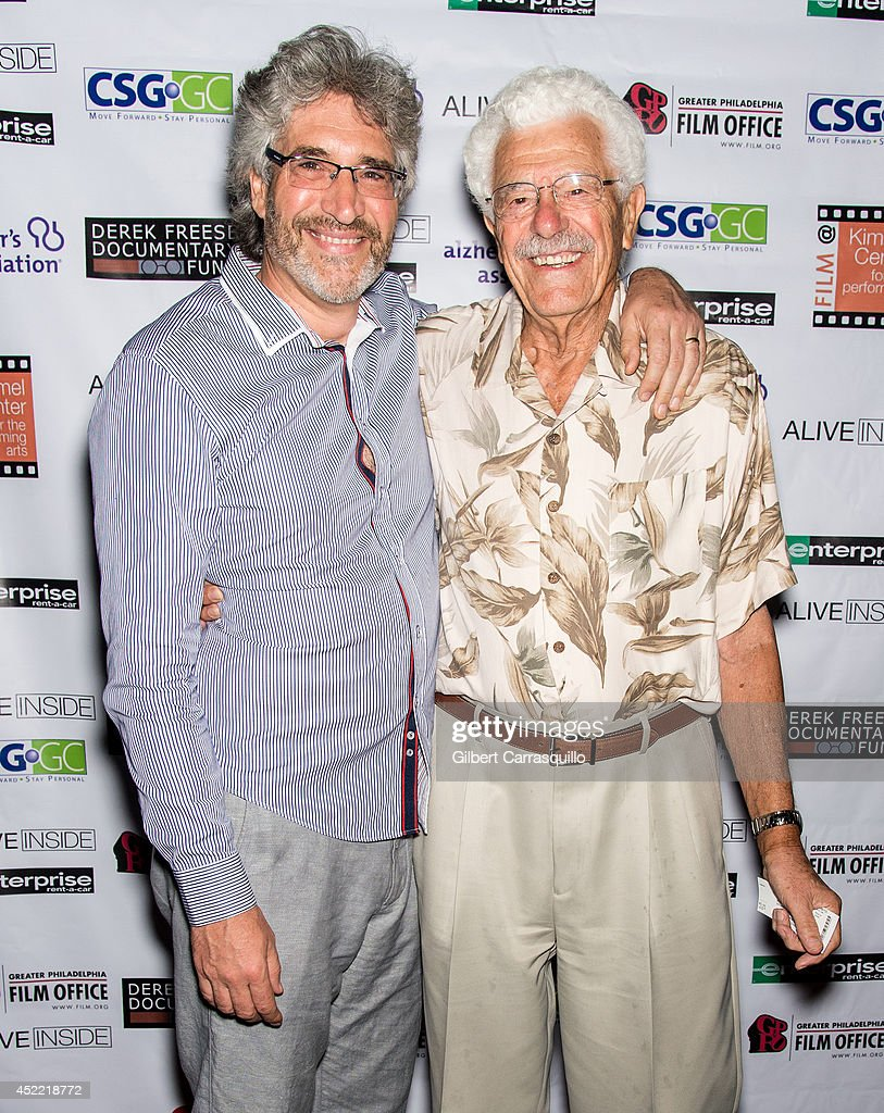 Writer/director/producer Michael Rossato-Bennett (R) and father Dr. Marvin H. Bennett attend the 'Alive Inside' screening at Kimmel Center for the Performing Arts on July 15, 2014 in Philadelphia, Pennsylvania.