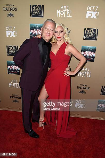 Writer/director/producer Ryan Murphy and actress/singer Lady Gaga attend the premiere screening of FX's 'American Horror Story Hotel' at Regal...