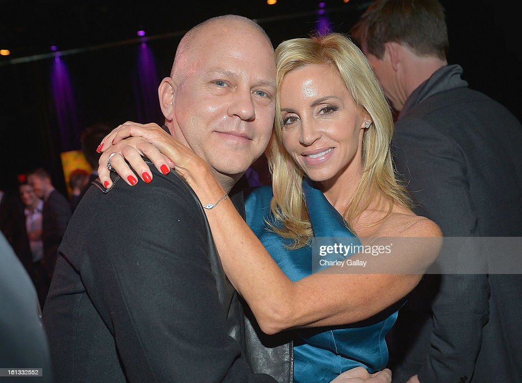 Writer/director/producer Ryan Murphy and TV personality <a gi-track='captionPersonalityLinkClicked' href=/galleries/search?phrase=Camille+Grammer&family=editorial&specificpeople=213238 ng-click='$event.stopPropagation()'>Camille Grammer</a> attend the Family Equality Council LA Awards Dinner at The Globe Theatre at Universal Studios on February 9, 2013 in Universal City, California.