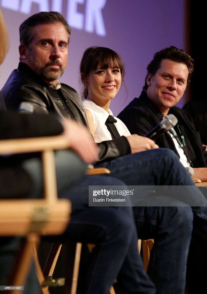 Writer/director/producer Steve Carell actress Rashida Jones and actor Hayes MacArthur speak onstage at the premiere of 'Angie Tribeca' during the...