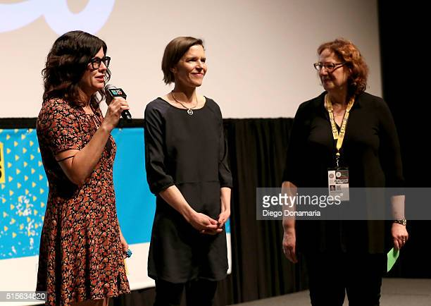 Writer/directors Annie J Howell and Lisa Robinson and SXSW Film Festival Director Janet Pierson speak onstage during the premiere of 'Claire in...