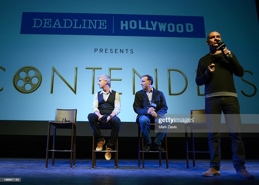 Writer/directors Chris Sanders and Kirk DeMicco of DreamWorks Animation and moderator Dominic Patten speak onstage during Deadline Hollywood's The Contenders on November 2, 2013 in Beverly Hills, California.
