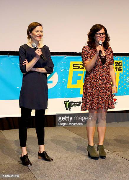 Writer/directors Lisa Robinson and Annie J Howell speak onstage during the premiere of 'Claire in Motion' during the 2016 SXSW Music Film Interactive...