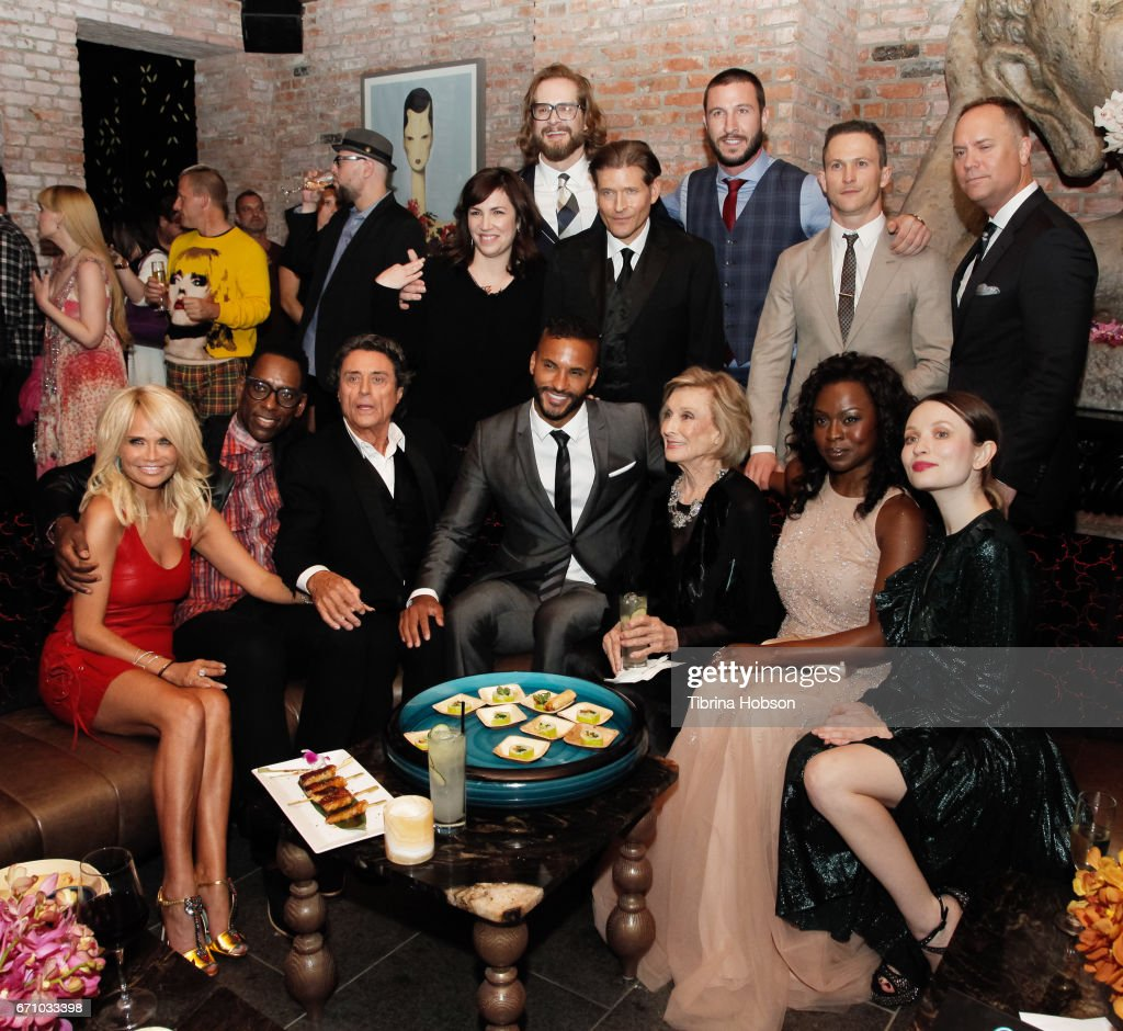 Writer/executive producer Bryan Fuller, actors Crispin Glover, Pablo Schreiber, Jonathan Tucker, Writer/executive producer Michael Green (Bottom L-R) actors Kristin Chenoweth, Bruce Langley, Orlando Jones, Ian McShane, Ricky Whittle, Cloris Leachman, Yetide Badaki, and Emily Browning attend the premiere of Starz's 'American Gods' after party on April 20, 2017 in Hollywood, California.