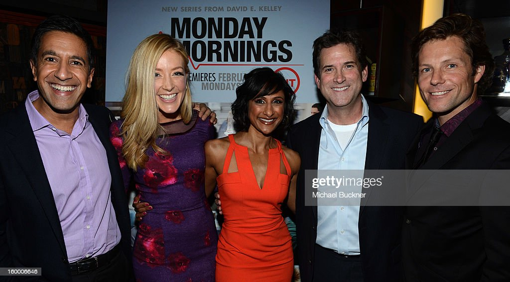 Writer/Executive Producer Dr. Sanjay Gupta, actress Jennifer Finnigan, actress Sarayu Rao, President, Head of Programming for TNT, TBS and Turner Classic Movies Michael Wright and actor Jamie Bamber attend 'Monday Mornings' Premiere Reception at at BOA Steakhouse on January 24, 2013 in West Hollywood, California. (Photo by Michael Buckner/WireImage) 23200_001_MB_0057.jpg