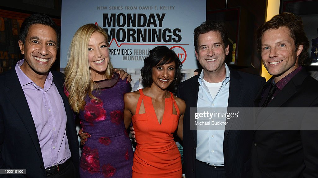 Writer/Executive Producer Dr. Sanjay Gupta, actress Jennifer Finnigan, actress Sarayu Rao, President, Head of Programming for TNT, TBS and Turner Classic Movies Michael Wright and actor Jamie Bamber attend 'Monday Mornings' Premiere Reception at at BOA Steakhouse on January 24, 2013 in West Hollywood, California. (Photo by Michael Buckner/WireImage) 23200_001_MB_0058.jpg