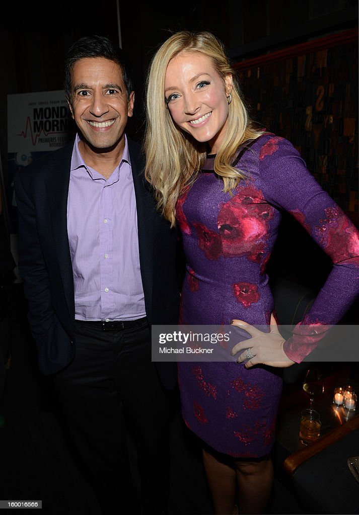 Writer/Executive Producer Dr. Sanjay Gupta and actress Jennifer Finnigan attend 'Monday Mornings' Premiere Reception at at BOA Steakhouse on January 24, 2013 in West Hollywood, California. (Photo by Michael Buckner/WireImage) 23200_001_MB_0097.jpg