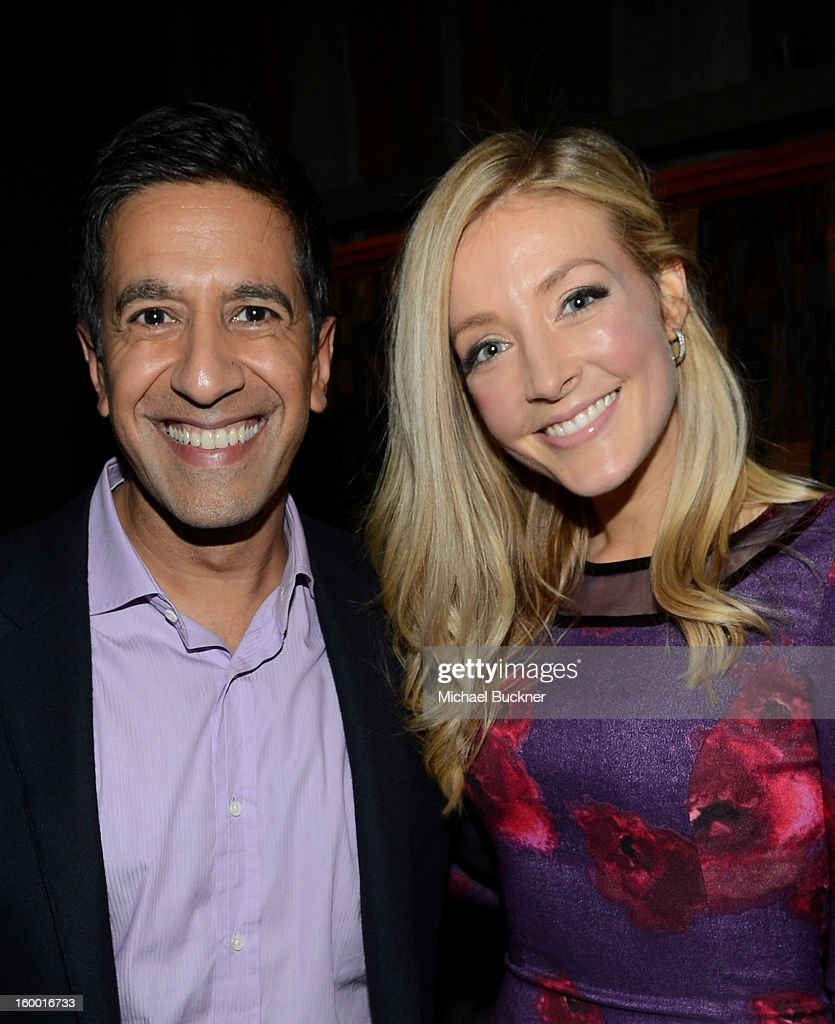 Writer/Executive Producer Dr. Sanjay Gupta and actress Jennifer Finnigan attend 'Monday Mornings' Premiere Reception at at BOA Steakhouse on January 24, 2013 in West Hollywood, California. (Photo by Michael Buckner/WireImage) 23200_001_MB_0094.jpg