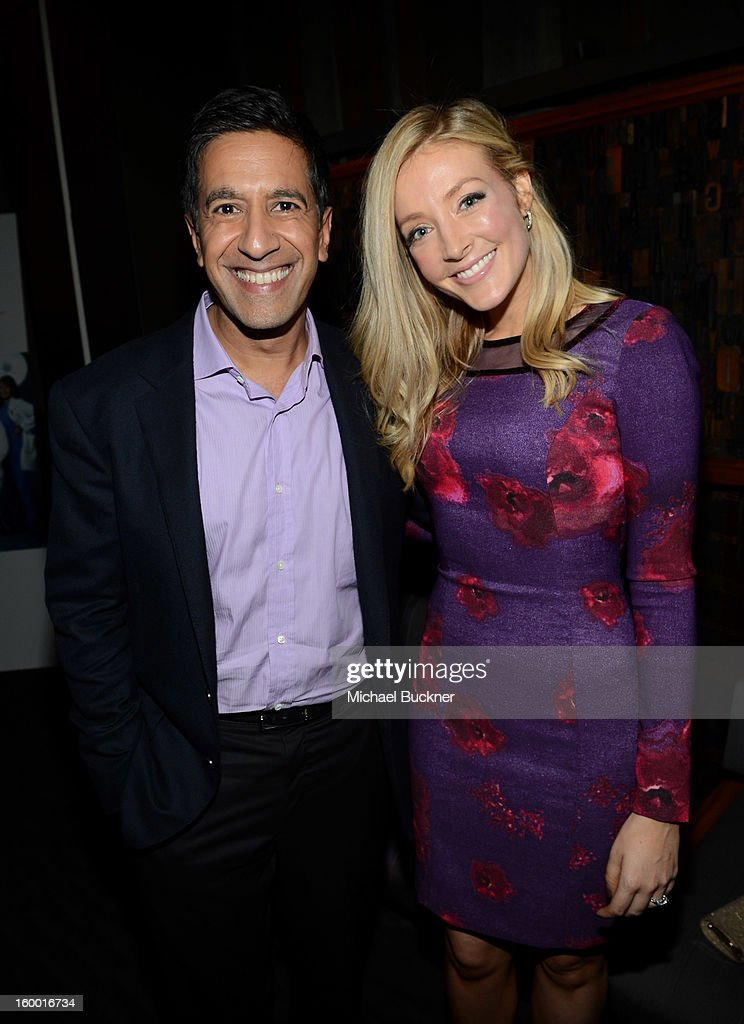 Writer/Executive Producer Dr. Sanjay Gupta and actress Jennifer Finnigan attend 'Monday Mornings' Premiere Reception at at BOA Steakhouse on January 24, 2013 in West Hollywood, California. (Photo by Michael Buckner/WireImage) 23200_001_MB_0095.jpg