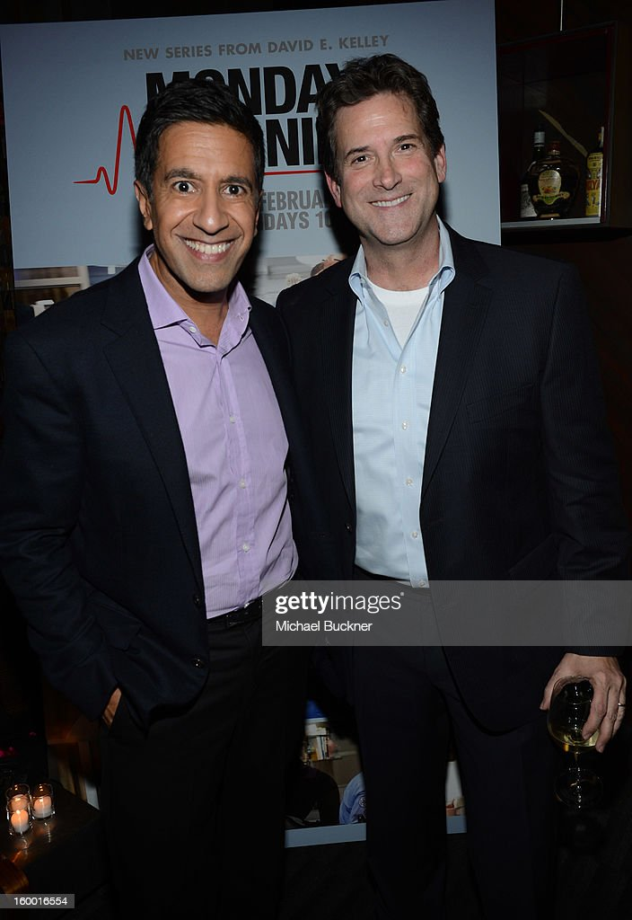 Writer/Executive Producer Dr. Sanjay Gupta and President, Head of Programming for TNT, TBS and Turner Classic Movies Michael Wright attend 'Monday Mornings' Premiere Reception at at BOA Steakhouse on January 24, 2013 in West Hollywood, California. (Photo by Michael Buckner/WireImage) 23200_001_MB_0053.jpg
