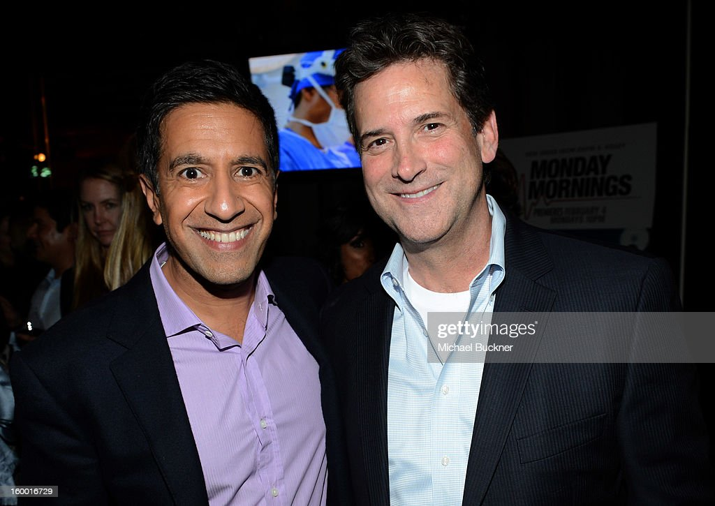 Writer/Executive Producer Dr. Sanjay Gupta and President, Head of Programming for TNT, TBS and Turner Classic Movies Michael Wright attend 'Monday Mornings' Premiere Reception at at BOA Steakhouse on January 24, 2013 in West Hollywood, California. (Photo by Michael Buckner/WireImage) 23200_001_MB_0052.jpg