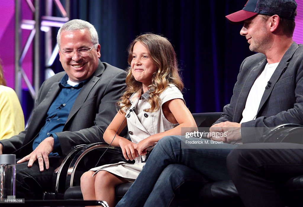 Writer/executive producer Glen Morgan, actress Millie Brown and actor John Simm speak onstage at the 'Intruders' panel during the BBC America portion of the 2014 Summer Television Critics Association at The Beverly Hilton Hotel on July 9, 2014 in Beverly Hills, California.
