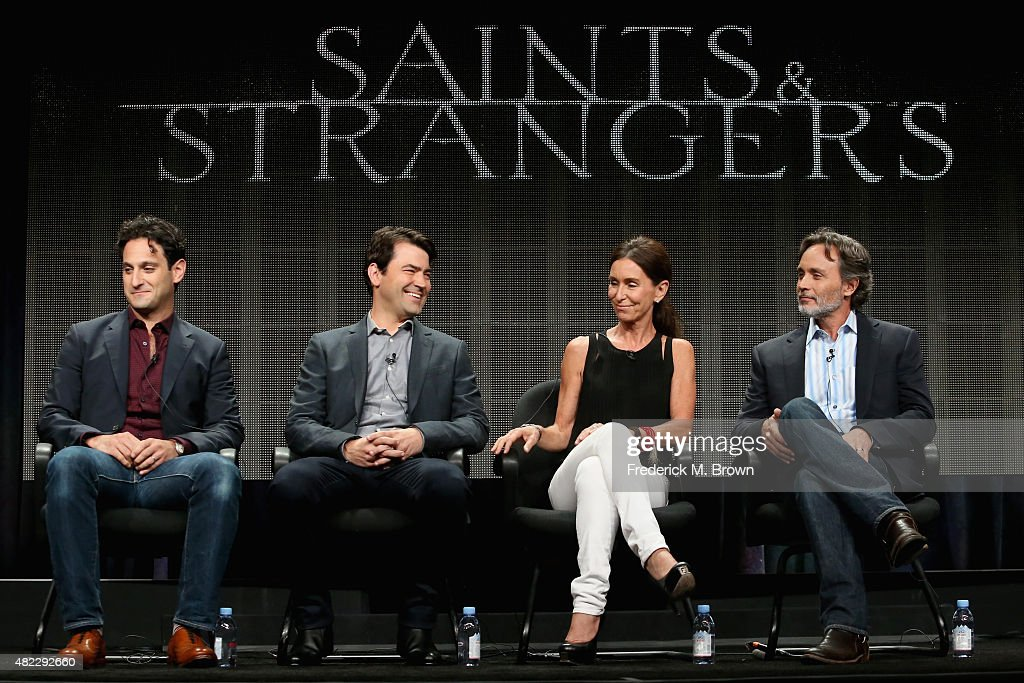 Writer/executive producer Seth Fisher, actor Ron Livingston, producer Teri Weinberg and executive producer Grant Scharbo speak onstage during the 'Saints & Strangers' panel discussion at the National Geographic Channel portion of the 2015 Summer TCA Tour at The Beverly Hilton Hotel on July 29, 2015 in Beverly Hills, California.