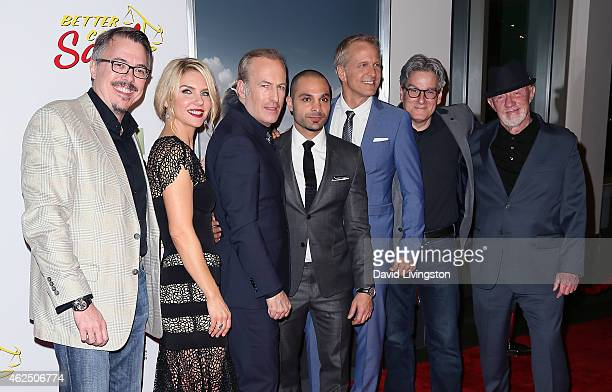 Writer/executive producer Vince Gilligan actors Rhea Seehorn Bob Odenkirk Michael Mando and Patrick Fabian writer Peter Gould and actor Jonathan...