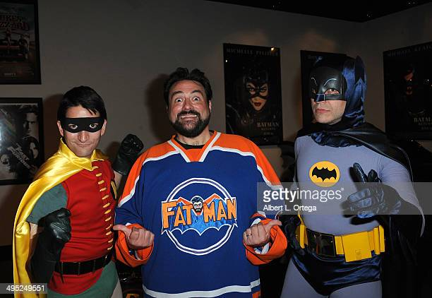 Writer/host Kevin Smith poses with Batman and Robin at the 'Batman 66 Meets The Green Hornet' Comic Book Kickoff Fatman On Batman Live Podcast With...