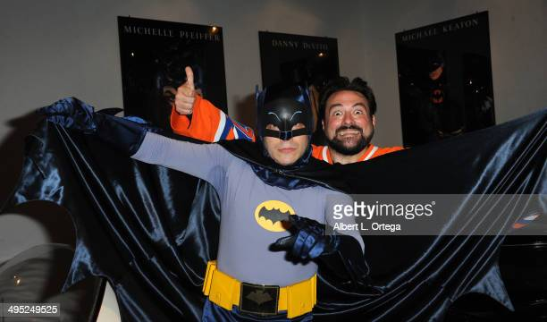 Writer/host Kevin Smith poses with Batman at the 'Batman 66 Meets The Green Hornet' Comic Book Kickoff Fatman On Batman Live Podcast With Kevin Smith...