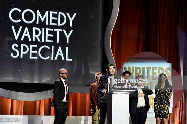WriterJeff Loveness and fellow writers accept the Comedy/Variety Specials award for 'Jimmy Kimmel Live 10th Annual After The Oscars Special' onstage...