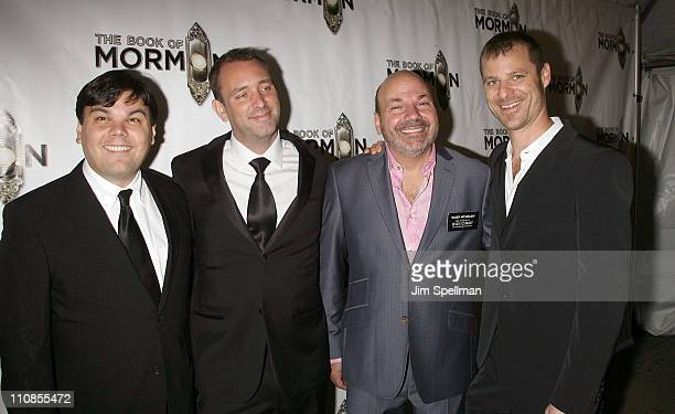 Writer/lyricist Robert Lopez writer Trey Parker choreographer Casey Nicholaw and writer Matt Stone attend the opening night of 'the Book of Mormon'...