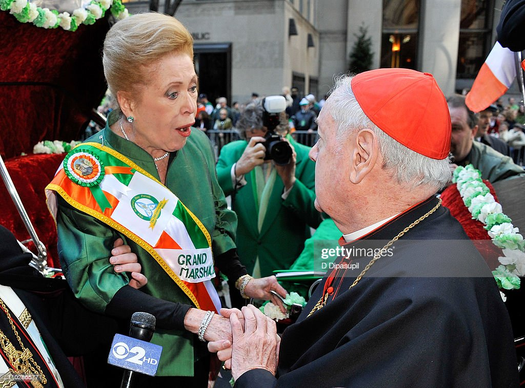 Writer/novelist <a gi-track='captionPersonalityLinkClicked' href=/galleries/search?phrase=Mary+Higgins+Clark&family=editorial&specificpeople=662217 ng-click='$event.stopPropagation()'>Mary Higgins Clark</a> (L) and Edward Cardinal Egan attend the 250th Annual St. Patrick's Day Parade on the Streets of Manhattan on March 17, 2011 in New York City.