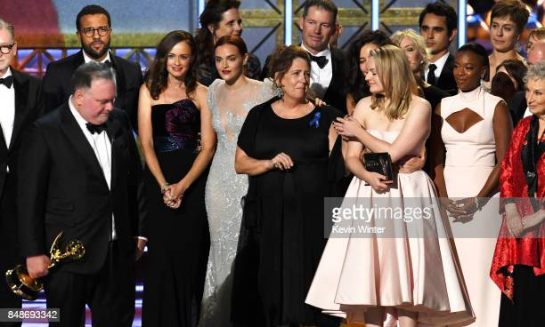 Writer/producer Bruce Miller actors Alexis Bledel Madeline Brewer Ann Dowd Elisabeth Moss and Samira Wiley and author Margaret Atwood with cast and...