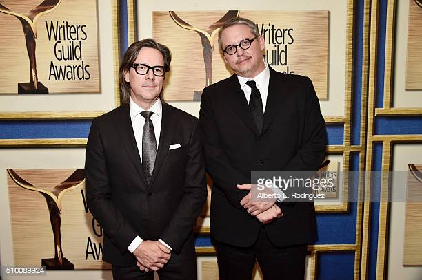Writer/producer Charles Randolph and writer/director Adam McKay attend the 2016 Writers Guild Awards at the Hyatt Regency Century Plaza on February...