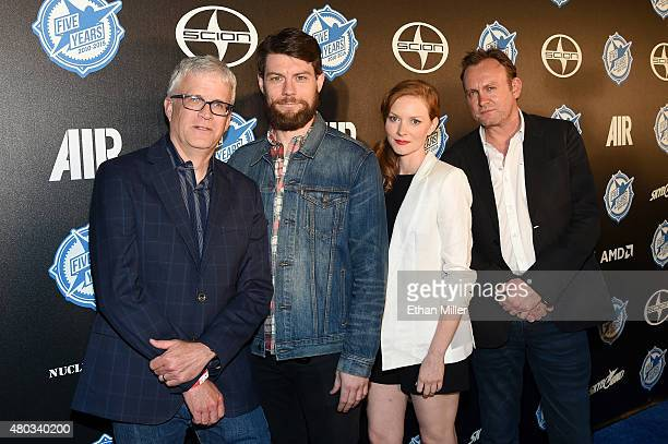 Writer/producer Chris Black actors Patrick Fugit Wrenn Schmidt and Philip Glenister attend the premiere party for Skybound Entertainment's 'AIR'...