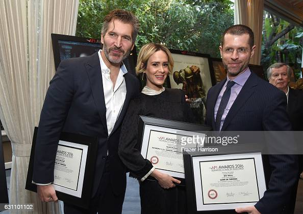 Writer/producer David Benioff actress Sarah Paulson and writer/producer D B Weiss attend the 17th annual AFI Awards at Four Seasons Los Angeles at...