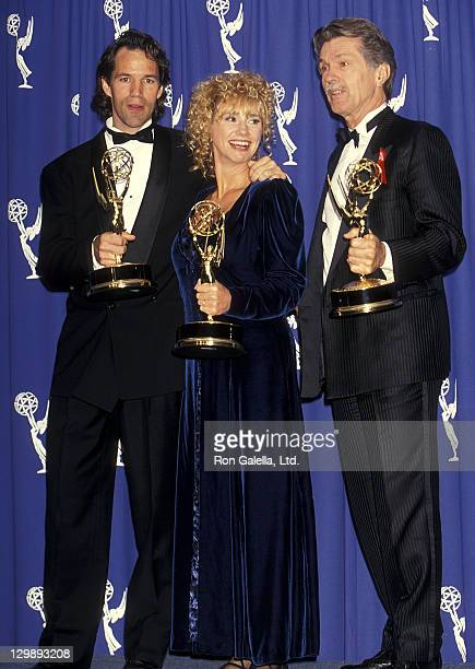 Writer/Producer David E Kelley actress Kathy Baker and actor Tom Skerritt attend the 45th Annual Primetime Emmy Awards on September 19 1993 at the...