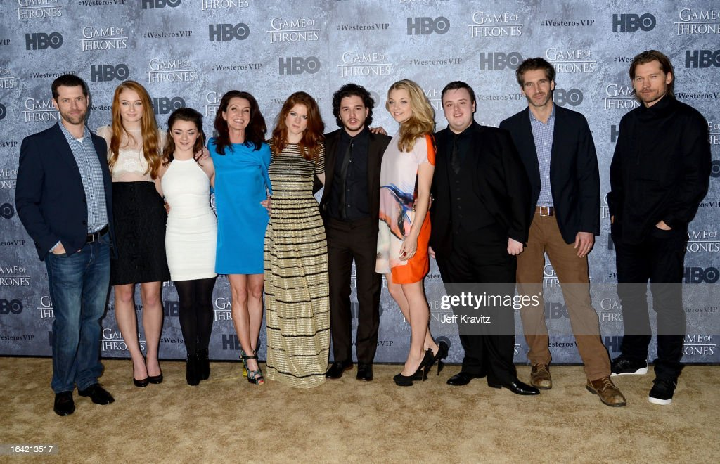 Writer/producer D.B. Weiss, actors Sophie Turner, <a gi-track='captionPersonalityLinkClicked' href=/galleries/search?phrase=Maisie+Williams&family=editorial&specificpeople=1766400 ng-click='$event.stopPropagation()'>Maisie Williams</a>, <a gi-track='captionPersonalityLinkClicked' href=/galleries/search?phrase=Michelle+Fairley&family=editorial&specificpeople=5745645 ng-click='$event.stopPropagation()'>Michelle Fairley</a>, <a gi-track='captionPersonalityLinkClicked' href=/galleries/search?phrase=Rose+Leslie&family=editorial&specificpeople=7275579 ng-click='$event.stopPropagation()'>Rose Leslie</a>, <a gi-track='captionPersonalityLinkClicked' href=/galleries/search?phrase=Kit+Harington&family=editorial&specificpeople=7470548 ng-click='$event.stopPropagation()'>Kit Harington</a>, <a gi-track='captionPersonalityLinkClicked' href=/galleries/search?phrase=Natalie+Dormer&family=editorial&specificpeople=817757 ng-click='$event.stopPropagation()'>Natalie Dormer</a>, John Bradley, writer/ecexutive producer <a gi-track='captionPersonalityLinkClicked' href=/galleries/search?phrase=David+Benioff&family=editorial&specificpeople=2097877 ng-click='$event.stopPropagation()'>David Benioff</a> and actor Nikolaj Coster-Waldau attend HBO's 'Game Of Thrones' Season 3 San Francisco Premiere on March 20, 2013 in San Francisco, California.