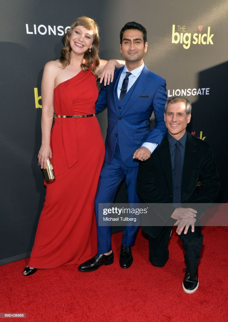 Writer/Producer Emily V. Gordon, Actor/Producer Kumail Nanjiani and Producer Barry Mendel attend the premiere of Amazon Studios and Lionsgate's 'The Big Sick' at ArcLight Hollywood on June 12, 2017 in Hollywood, California.