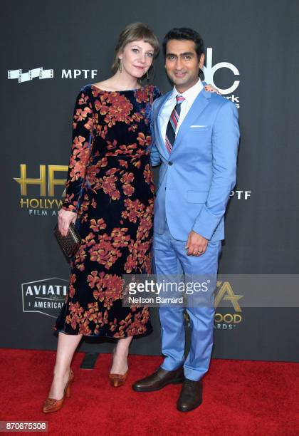 Writerproducer Emily V Gordon and writeractor Kumail Nanjiani attends the 21st Annual Hollywood Film Awards at The Beverly Hilton Hotel on November 5...