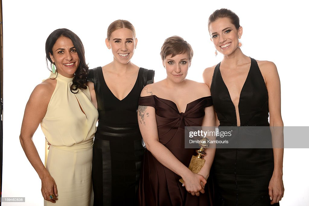Writer/Producer Jennifer Konner, actress <a gi-track='captionPersonalityLinkClicked' href=/galleries/search?phrase=Zosia+Mamet&family=editorial&specificpeople=7439328 ng-click='$event.stopPropagation()'>Zosia Mamet</a>, actress/writer <a gi-track='captionPersonalityLinkClicked' href=/galleries/search?phrase=Lena+Dunham&family=editorial&specificpeople=5836535 ng-click='$event.stopPropagation()'>Lena Dunham</a> and <a gi-track='captionPersonalityLinkClicked' href=/galleries/search?phrase=Allison+Williams+-+Actress&family=editorial&specificpeople=594198 ng-click='$event.stopPropagation()'>Allison Williams</a> of 'Girls' pose for a portrait at the 70th Annual Golden Globe Awards held at The Beverly Hilton Hotel on January 13, 2013 in Beverly Hills, California.