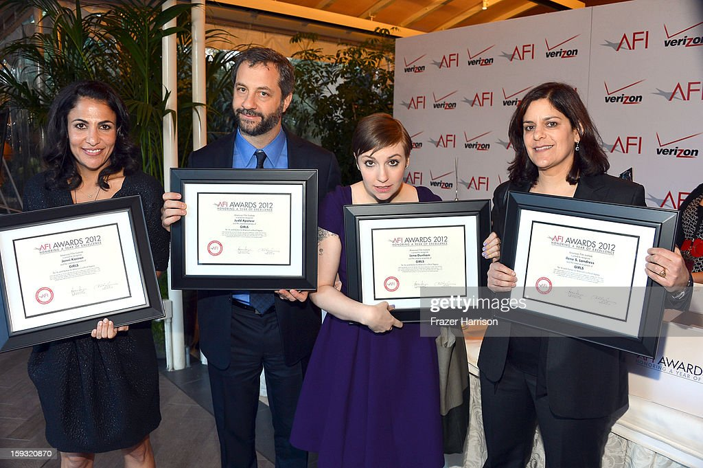 Writer/producer Jennifer Konner, director <a gi-track='captionPersonalityLinkClicked' href=/galleries/search?phrase=Judd+Apatow&family=editorial&specificpeople=854225 ng-click='$event.stopPropagation()'>Judd Apatow</a>, writer/director <a gi-track='captionPersonalityLinkClicked' href=/galleries/search?phrase=Lena+Dunham&family=editorial&specificpeople=5836535 ng-click='$event.stopPropagation()'>Lena Dunham</a>, and producer Ilene S. Landress attend the 13th Annual AFI Awards at Four Seasons Los Angeles at Beverly Hills on January 11, 2013 in Beverly Hills, California.