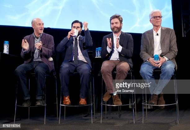 Writer/producer Jonathan Ames actor Zach Galifianakis actor Jason Schwartzman and actor Ted Danson speak onstage during the 'Bored to Death Reunion'...