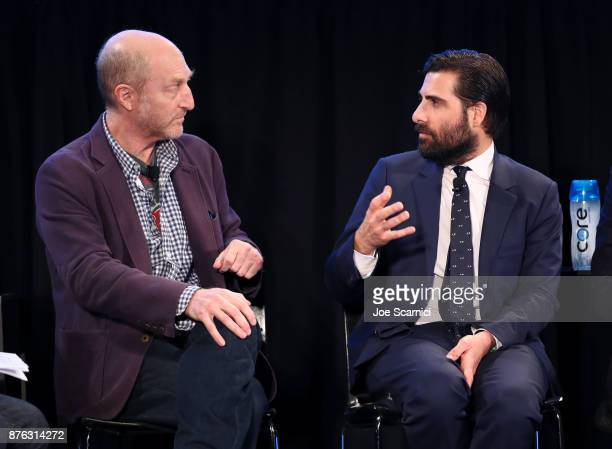Writer/producer Jonathan Ames and actor Jason Schwartzman speak onstage during the 'Bored to Death Reunion' panel part of Vulture Festival LA...