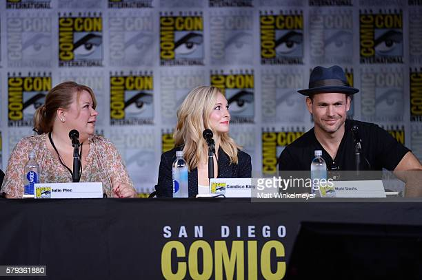 Writer/producer Julie Plec actors Candice King and Matt Davis attend the 'The Vampire Diaries' panel during ComicCon International 2016 at San Diego...