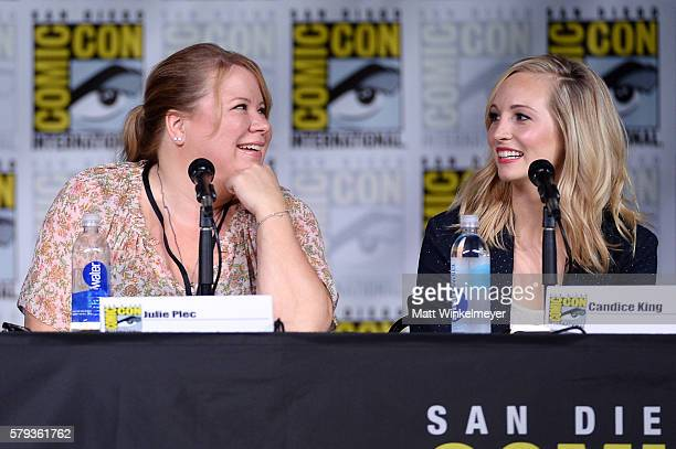 Writer/producer Julie Plec and actress Candice King attend the 'The Vampire Diaries' panel during ComicCon International 2016 at San Diego Convention...