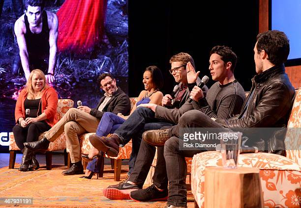 Writer/producer Julie Plec director of photogrpahy Darren Ganet actors Kat Graham Zach Roerig Michael Trevino and Michael Malarkey speak on the panel...