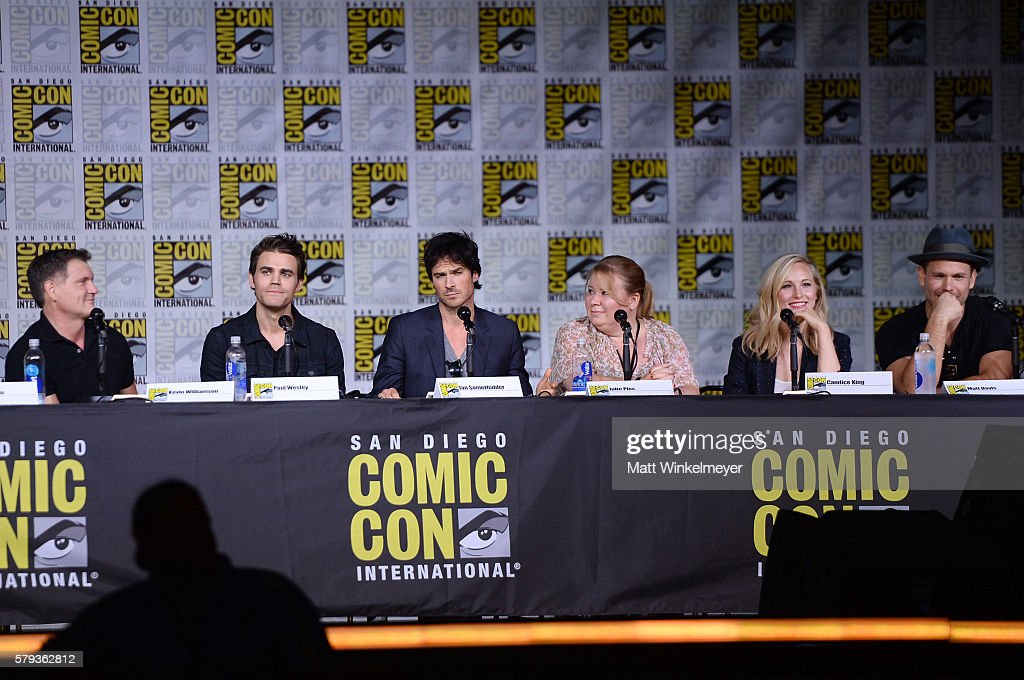 Writer/producer Kevin Williamson actors Paul Wesley and Ian Somerhalder writer/producer Julie Plec actors Candice King and Matt Davis attend the 'The...