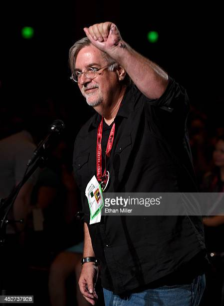 Writer/producer Matt Groening asks a question at FOX's 'Family Guy' panel during ComicCon International 2014 at the San Diego Convention Center on...
