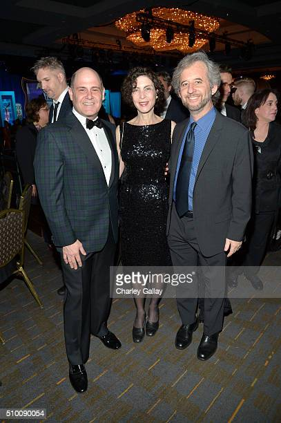 Writer/producer Matthew Weiner architect Linda Brettler and Writers Guild of America West Board of Directors member Scott Alexander attend the...