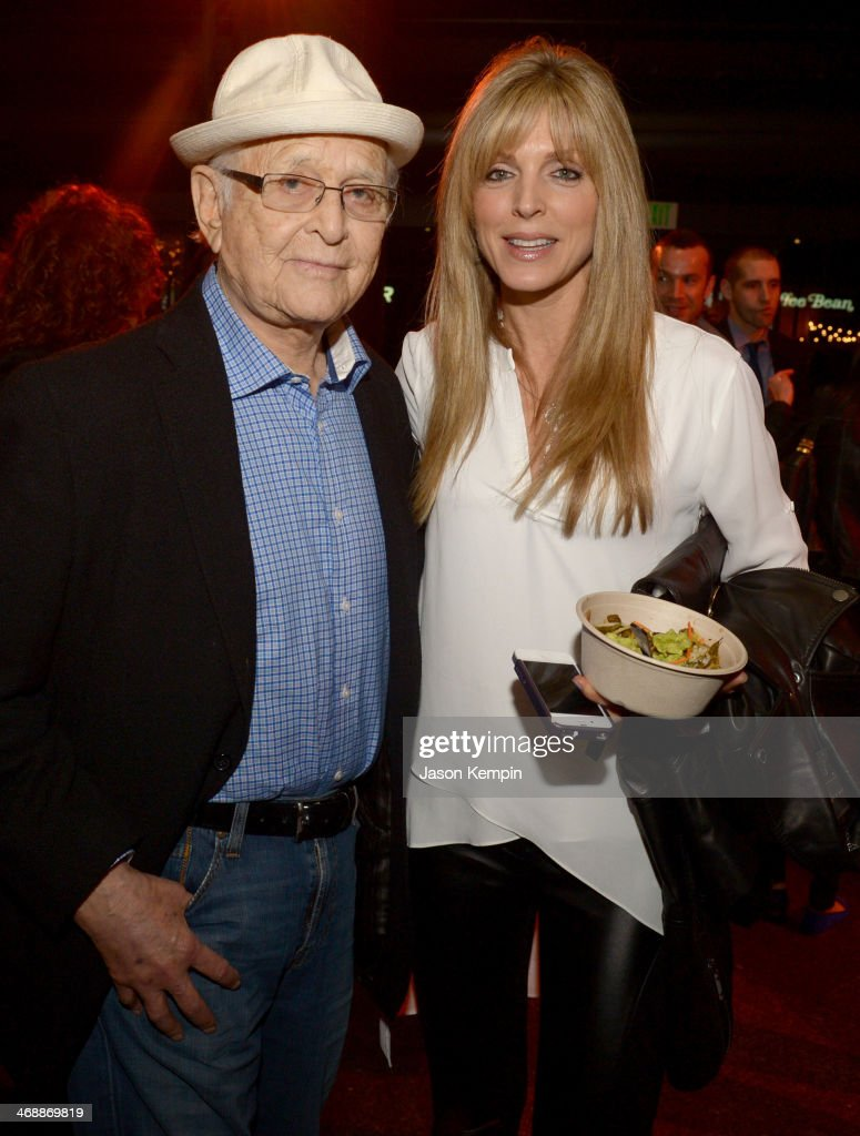 Writer/producer Norman Lear (L) and actress Marla Maples celebrate the world premiere of 'Farmed and Dangerous,' a Chipotle/Piro production at DGA Theater on February 11, 2014 in Los Angeles, California.