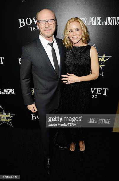 Writer/producer Paul Haggis and actress Maria Bello attend the 7th Annual Hollywood Domino and Bovet 1822 Gala benefiting artists for peace and...