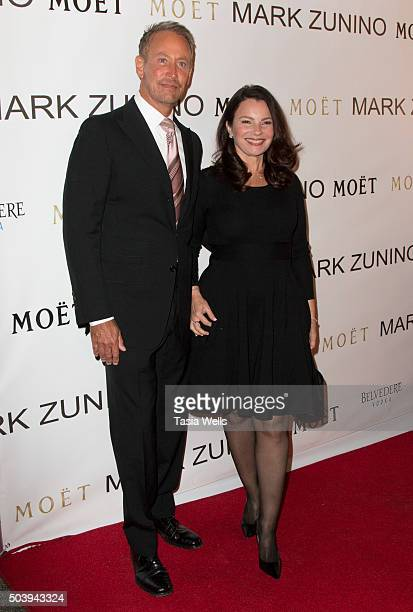 Writer/producer Peter Marc Jacobson and actress Fran Drescher arrives at the Mark Zunino Atelier opening at Mark Zunino Atelier on January 7 2016 in...