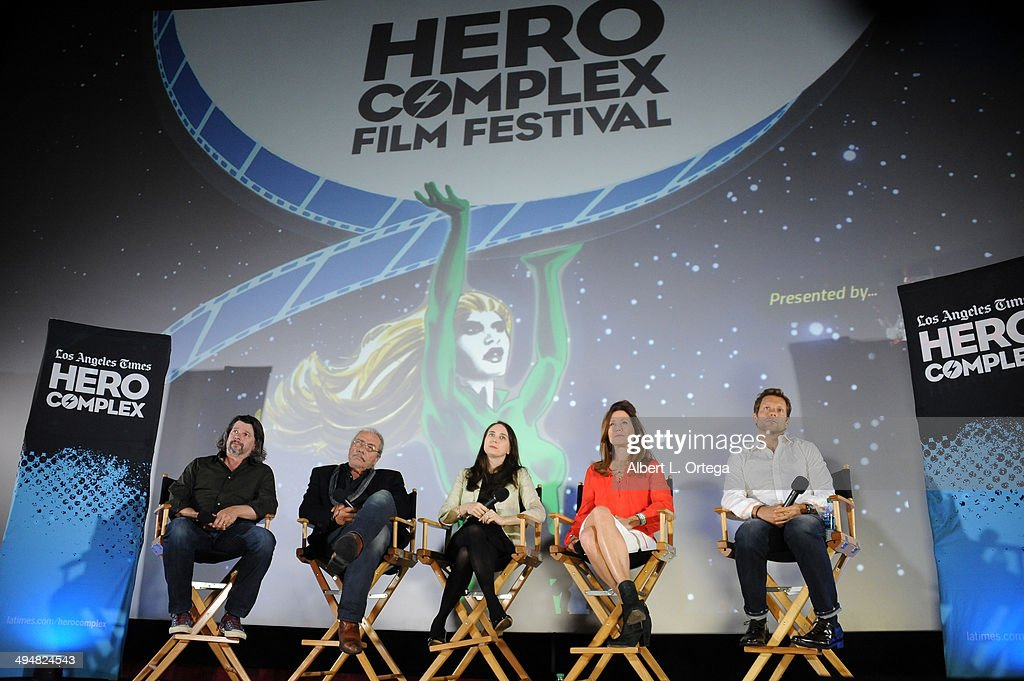 Writer/producer Ronald D. Moore, actor Edward James Olmos, LA Times Film Writer/moderator Rebecca Keegan, actress Mary McDonnell and actor Jamie Bamber participate in the 5th Annual Hero Complex Film Festival - 'Battlestar Galactica' Screening and Q&A held at the TCL Chinese Theater on May 30, 2014 in Hollywood, California.