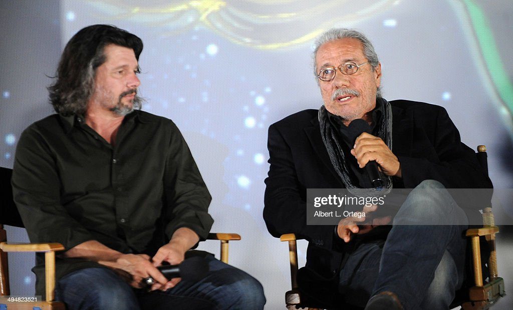 Writer/producer Ronald D. Moore and actor Edward James Olmos participate in the 5th Annual Hero Complex Film Festival - 'Battlestar Galactica' Screening and Q&A held at the TCL Chinese Theater on May 30, 2014 in Hollywood, California.