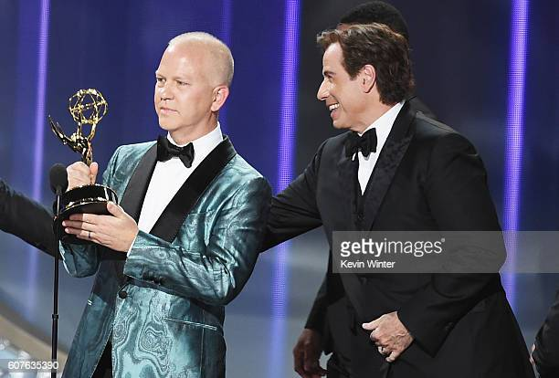 Writer/producer Ryan Murphy and actor John Travolta accept Outstanding Limited Series for 'The People v OJ Simpson American Crime Story' onstage...