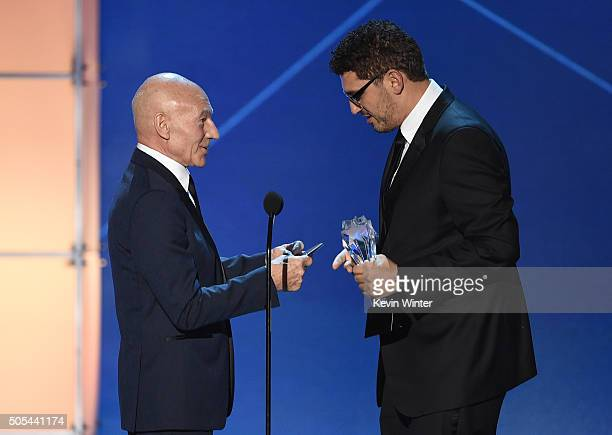 Writerproducer Sam Esmail accepts the Best Drama Series award for 'Mr Robot' from actor Sir Patrick Stewart onstage during the 21st Annual Critics'...