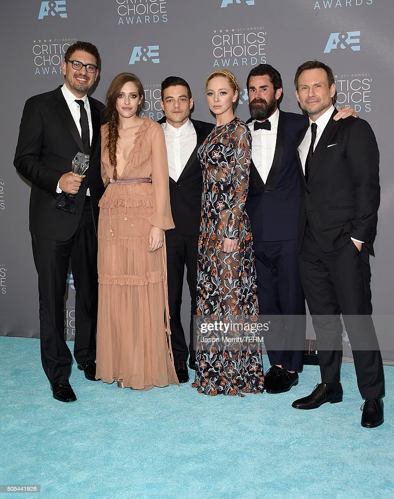 Writer/producer Sam Esmail and actors Carly Chaikin, Rami Malek, Portia Doubleday, producer Chad Hamilton and actor Christian Slater, winners of Best Drama Series for 'Mr. Robot', pose in the press room during the 21st Annual Critics' Choice Awards at Barker Hangar on January 17, 2016 in Santa Monica, California.